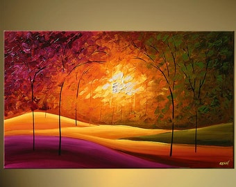 """Modern Landscape Painting  by Osnat Palette Knife Acrylic Painting 48"""" x 36""""  - MADE-TO-ORDER"""