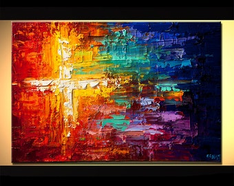 Original Modern Abstract Colorful Modern Palette Knife painting Cross Painting by OSNAT  Made-To-Order