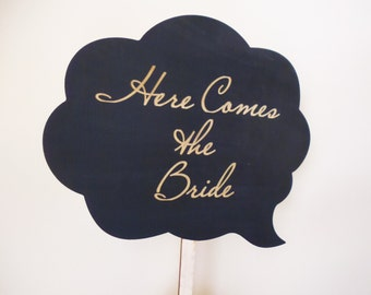 Here Comes the Bride Sign Flower Girl Signs on a Stick Ring Bearer Engraved Wood Cloud Speech Bubble on Stick Wedding Sign
