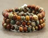 Jasper Memory Wire Bracelet with Sterling Silver, Red Creek Jasper, 3 Wraps