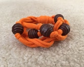 RESERVED LISTING for Ramona - Upcycled Tshirt Bracelet - Orange Jersey & Brown Wooden Beads