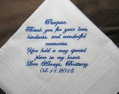 Grandfather of the Bride - Personalized Wedding Handkerchief With Free Gift Envelope - Shown with Royal Blue Writing