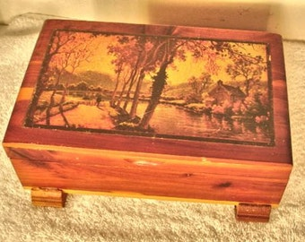 Vintage Mini Cedar Chest With Cottage Landscape Decoupaged Jewelry box, Keepshake box