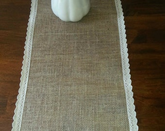 Shabby Chic Burlap Table Runner with vintage trim border, Unique various sizes, Wedding, Dinning entertaining