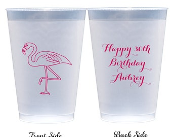 50 Personalized Flamingo Plastic Party Cups