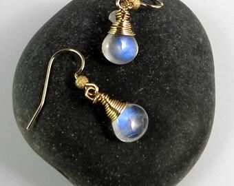 Rainbow Moonstone Dangle Earrings,  Moonstone Earrings, Rainbow Moonstone Jewelry, Moonstone Dangles, Quality Moonstones, Spectrolite