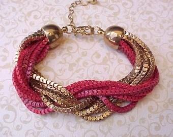 Unusual Vintage Bracelet of Gold and Crimson Mesh