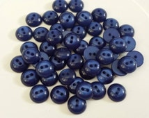 17 Matching Deep Sapphire Blue Domed Shiny Buttons, 2 holes, approx 1/2 inch, 11mm round sewing buttons
