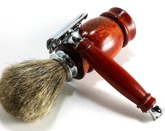 Bloodwood Classic Safety Razor Shaving Set with Chrome Finish and Choice of Shaving Soap