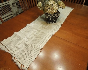 Vintage Off White Hand Crochet table runner for christmas, holiday, housewares, home decor, valentines by MarlenesAttic