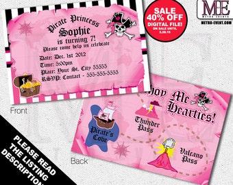 SALE - Pink Pirate Invitations, Pirate Invitations, Pirate Princess Invitations, Pirate Girl Invitation, Girl Pirate Invitations, Invitation