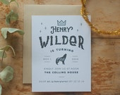 Baby / Kid First Birthday Party Invitation - Crown, Wolf or Any Animal - PDF ONLY