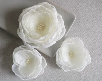 Ivory bridal hair flower clip, Wedding hair accessories, ivory bridal shoe clips, sew on dress embellishments, bridal brooch, hair clip grip