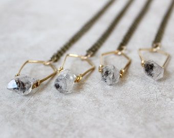 Herkimer Diamond Necklace, Brass Pendant Necklace, Crystal Quartz Necklace, Geometric Necklace