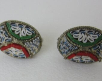 Vintage Micro Mosaic Earrings - Oval Screw Back - Geometric Flower Pattern - White Blue Green Red - Fashion Accessory - Vintage Fashion