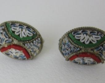 Vintage Micro Mosaic Earrings - Oval Screw Back - Geometric Flower Pattern - White Blue Green Red - Fashion Accessory - Vintage Fashion