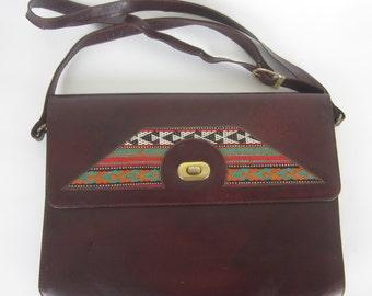 Vintage Cordovan Leather Woven Ethnic Bag - Shoulder Bag - Boho Vintage Accessories - Long Strap - Womens Fashion