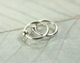 8 mm Hoop Earrings with Ball End - Argentium Sterling Silver Sleepers in Pairs