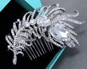 Bridal Hair Comb, Wedding Hair Comb, Large Feather Crystals Bridal Hair Comb, Aurora Borealis Rhinestone Crystal AB Crystal Hair Comb