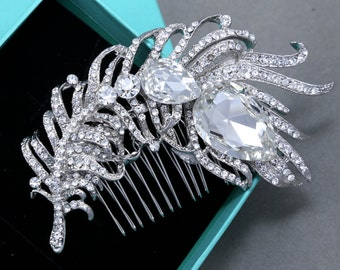 Bridal Hair Comb, Wedding Hair Comb, Large Feather Crystals Bridal Hair Comb, Aurora Borealis Rhinestone Crystal AB Crystal Hair Comb