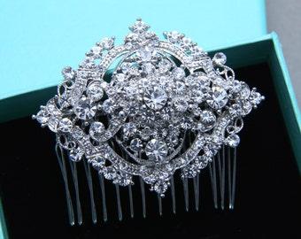 Vintage Style Oval Aurora Borealis Rhinestone Crystal Wedding Hair Comb, Bridal Hair Comb, Wedding Hair Accessory