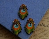 10 pcs Wood Peacock Feather Bird Painted Button 35mm (WB2297)