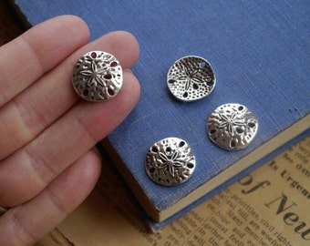 8 pcs Antique Silver Nautical Sand Dollar Connector Charms 18mm (SC2423)
