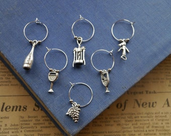 Wine Charm Set Includes Hoops, Beads and Charms Enough for 6 pcs Set- Assorted (SC693)