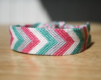 Friendship Bracelet - Strawberry Haze Chevron