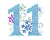 Ice Princess Number 11 Frozen Happy Birthday Cloth Decor Applique Machine Embroidery Design for Girls HB034