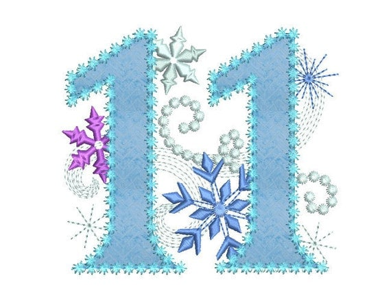 Ice Princess Number  Frozen Happy Birthday Cloth Decor Applique Machine Embroidery Design For Girls Hb