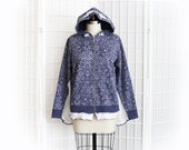 Periwinkle Blue Hoodie with Pattern and Bell Sleeves in White Loose Knit Boho Hippie Upcycled Clothing Size Large