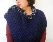 Rib Navy blue Capelet Super soft mixed   wool Cape Woman Capelet Womens Fall Winter Accessories NEW