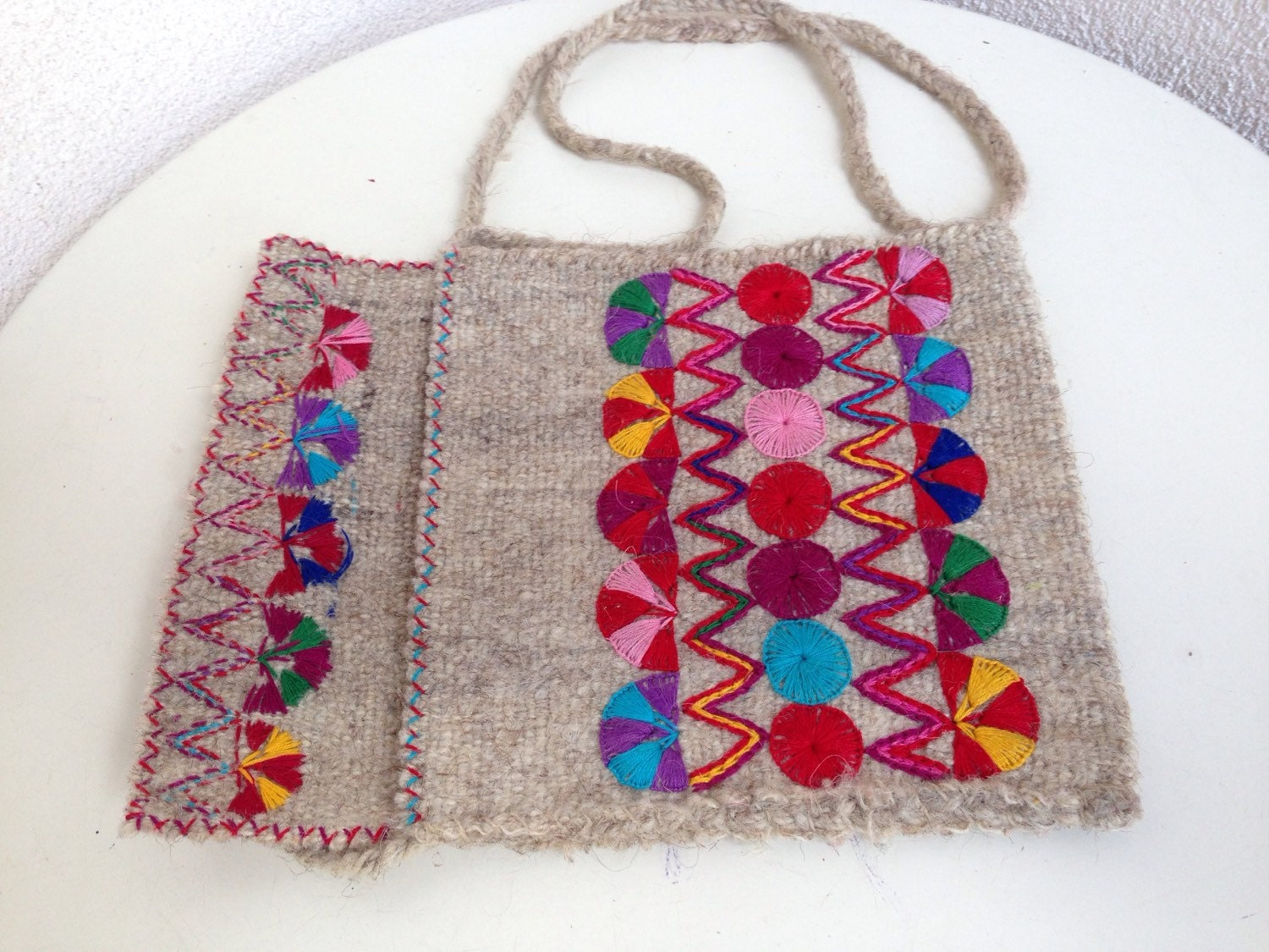 Vintage small mexican embroidered wool pouch or purse by