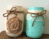 Set of 20-Painted Mason Jars w/ Twine, Lace & Burlap- 2 Designs Available-Wedding Centerpiece/Flower Vase/Candle Holder--Rustic-Country