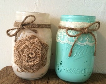 Set of 5-Painted Mason Jars w/ Twine, Lace & Burlap- 2 Designs Available- Wedding Centerpiece/Flower Vase/Candle Holder--Rustic-Country