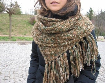 Green brown scarf- Cable Knit scarf-long scarf man - men's scarves -2016 Winter fashion accessories- men's knitted scarves-woman-man-fashion