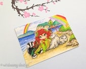 """Aceo princess painting, aceo watercolour print, whimsical painting, """"Irish Princess"""" trading card, miniature painting, 2.5 x 3.5 inch print"""