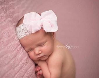 Baby Headband, Infant Headband- Baby Pink Bow Lace Headband