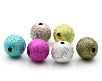 10pc Mixed Color Round Stardust Beads - 12mm - Spacer, Beading, Bracelet Bead, Jewelry Finding, Glitter, Supplies, Ships from the USA - B109