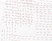 Sashiko in Pitcher Pink : organic cotton handprinted fabric panel