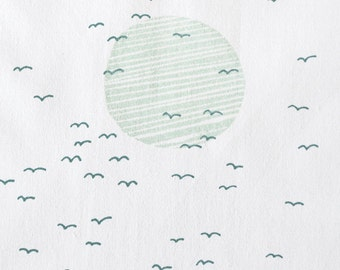 Flight in Deep Teal and Mint : organic cotton handprinted fabric panel
