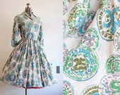 1950's Novelty Print Dress / Coin Print / Small