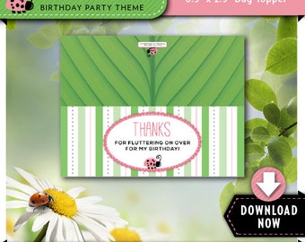 Ladybug Treat Bag Topper   Printable Candy Bag Toppers   Labels for Birthday Party Favor Bags   Instant Download