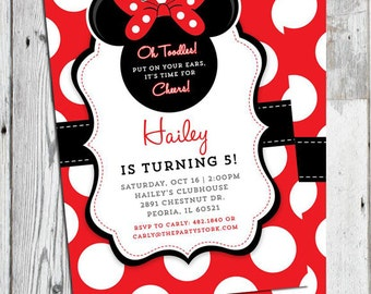 Minnie Mouse Invitation Red, Printable Minnie Mouse Birthday Party Invitation, Minnie Mouse Invite 1st, 2nd 3rd Birthday Invitation Girl