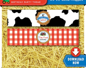 Barnyard Water Bottle Labels | Wrappers | Printable Birthday Party Decorations | Instant Download