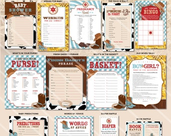 Cowboy Baby Shower Games | Western Theme | Boy Baby Shower Printable | Blue Red | ONE GAME You Choose | Invitation & Decorations Available