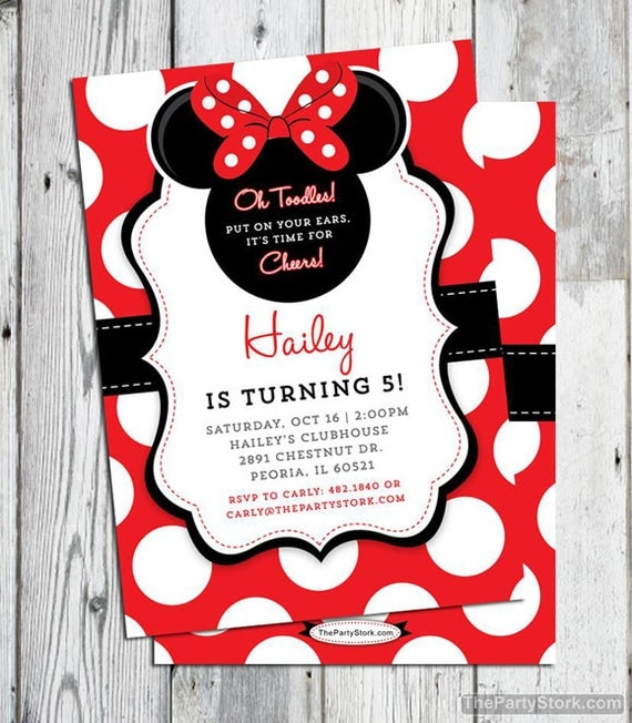 Minnie Mouse Invitation Red Printable Minnie Mouse Birthday