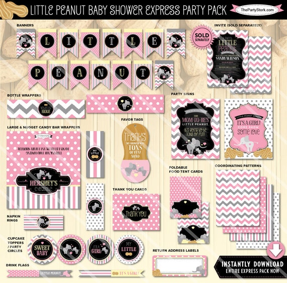 Pink elephant baby shower decorations printable party pack for Baby shower decoration packs