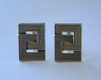 Swank Cuff Links, Graphic Greek Key Interlocking Squares, Vintage Menswear
